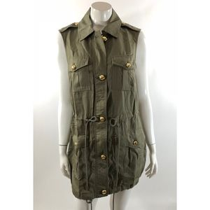 Michael Kors Womens Vest Plus Size 0X Safari Green